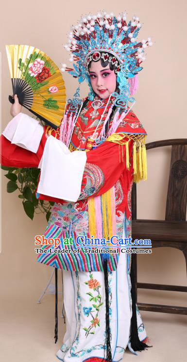 Traditional China Beijing Opera Palace Lady Costume Senior Concubine Red Embroidered Robe Dress, Ancient Chinese Peking Opera Diva Hua Tan Embroidery Clothing for Kids