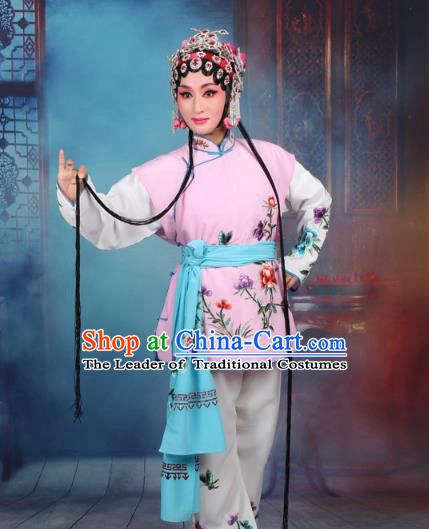 Top Grade Professional Beijing Opera Young Lady Costume Mui Tsai Pink Embroidered Vest Clothing, Traditional Ancient Chinese Peking Opera Maidservants Embroidery Clothing