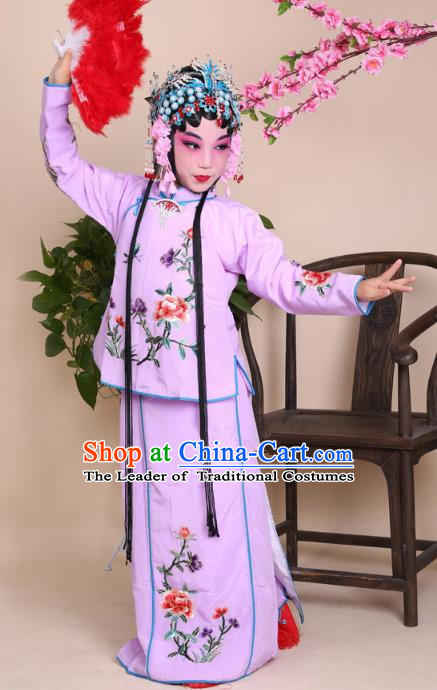 Top Grade Professional Beijing Opera Mui Tsai Costume Purple Embroidered Clothing, Traditional Ancient Chinese Peking Opera Maidservants Embroidery Clothing for Kids