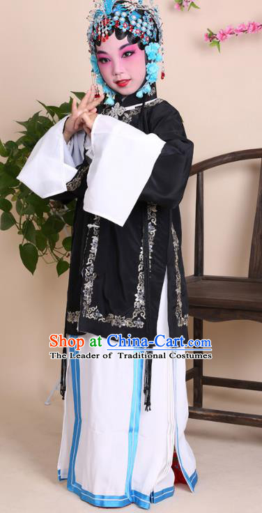 Top Grade Professional China Beijing Opera Costume Black Embroidered Dress, Ancient Chinese Peking Opera Diva Hua Tan Embroidery Phoenix Clothing for Kids