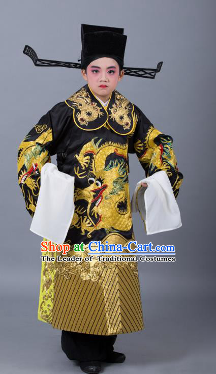 Traditional China Beijing Opera Costume Prime Minister Embroidered Robe and Headwear, Ancient Chinese Peking Opera Bao Zheng Embroidery Dragon Gwanbok Clothing for Kids