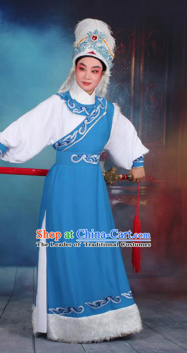 Top Grade Professional Beijing Opera Costume Niche Embroidered Robe and Headwear, Traditional Ancient Chinese Peking Opera Desert Prince Embroidery Clothing