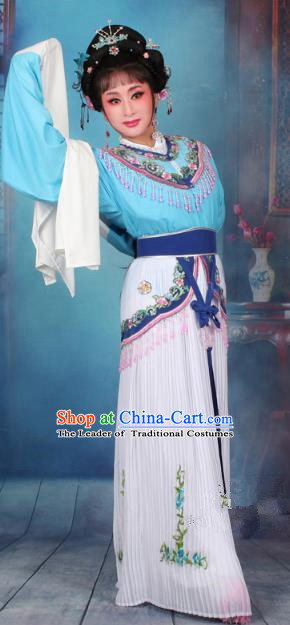 Top Grade Professional Beijing Opera Diva Costume Nobility Lady Blue Embroidered Clothing, Traditional Ancient Chinese Peking Opera Hua Tan Princess Embroidery Dress