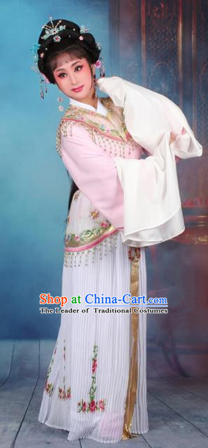 Top Grade Professional Beijing Opera Diva Costume Nobility Lady Light Pink Embroidered Clothing, Traditional Ancient Chinese Peking Opera Hua Tan Princess Embroidery Dress