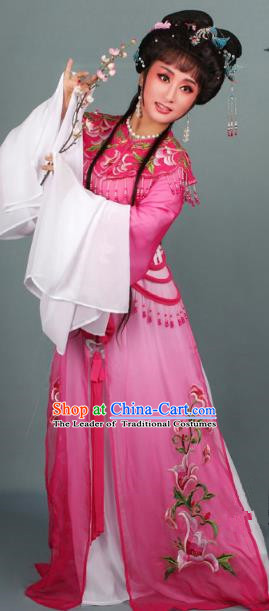 Top Grade Professional Beijing Opera Diva Costume Hua Tan Rosy Embroidered Clothing, Traditional Ancient Chinese Peking Opera Princess Embroidery Dress