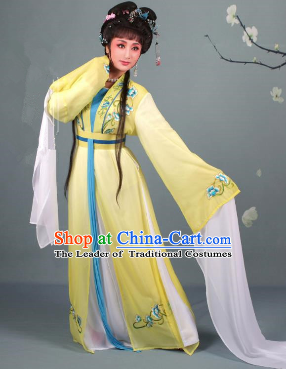Top Grade Professional Beijing Opera Diva Costume Hua Tan Water Sleeve Embroidered Yellow Dress, Traditional Ancient Chinese Peking Opera Princess Embroidery Clothing