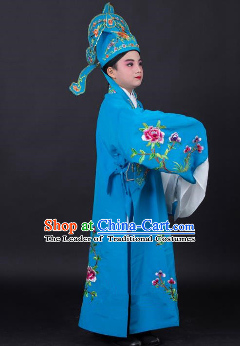 Top Grade Professional Beijing Opera Niche Costume Gifted Scholar Blue Embroidered Robe and Headwear, Traditional Ancient Chinese Peking Opera Embroidery Clothing for Kids