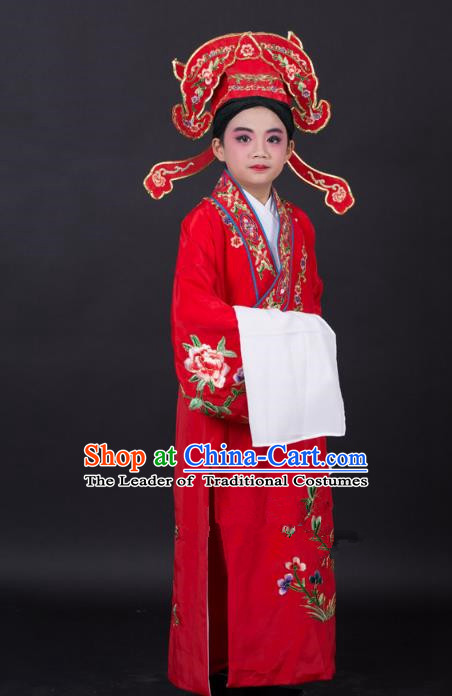Top Grade Professional Beijing Opera Niche Costume Gifted Scholar Red Embroidered Robe and Headwear, Traditional Ancient Chinese Peking Opera Embroidery Clothing for Kids