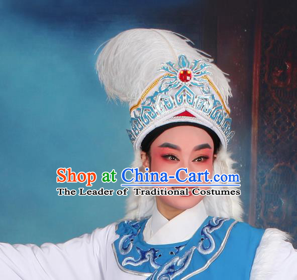 Top Grade Professional Beijing Opera Niche Costume Princess Hat Headwear, Traditional Ancient Chinese Peking Opera Young Men Headpiece