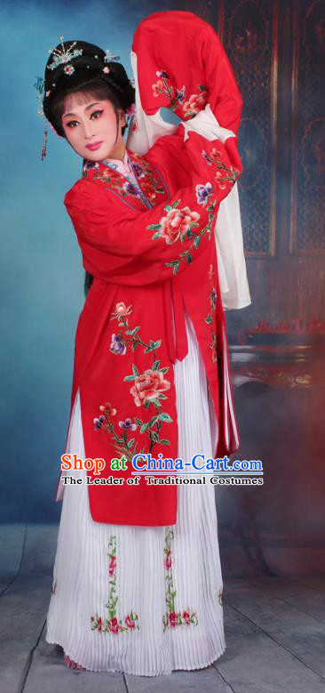 Top Grade Professional Beijing Opera Palace Lady Costume Hua Tan Red Embroidered Cape Dress, Traditional Ancient Chinese Peking Opera Diva Embroidery Clothing