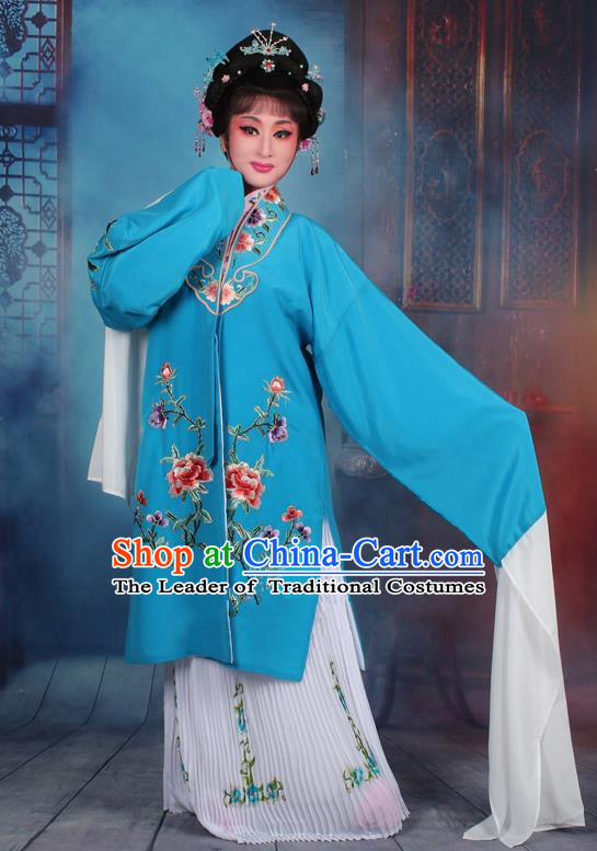 Top Grade Professional Beijing Opera Palace Lady Costume Hua Tan Blue Embroidered Cape Dress, Traditional Ancient Chinese Peking Opera Diva Embroidery Clothing
