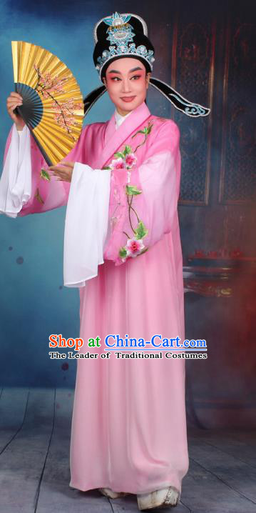 Top Grade Professional Beijing Opera Gifted Scholar Costume Niche Embroidered Pink Robe and Headwear, Traditional Ancient Chinese Peking Opera Embroidery Clothing