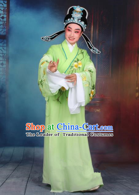 Top Grade Professional Beijing Opera Gifted Scholar Costume Niche Embroidered Green Robe and Headwear, Traditional Ancient Chinese Peking Opera Embroidery Clothing
