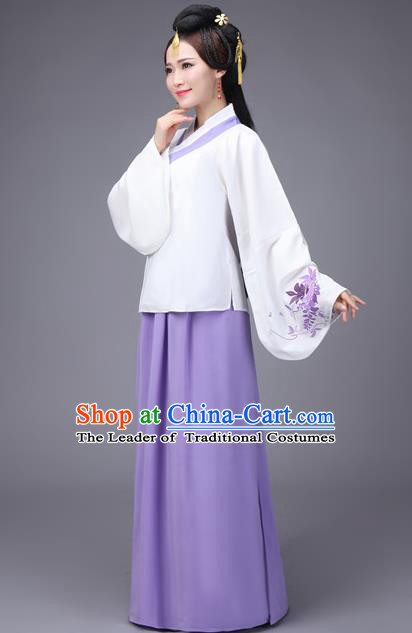 Traditional Ancient Chinese Fairy Purple Dress Palace Lady Sleeve Placket Costume, Elegant Hanfu Chinese Ming Dynasty Imperial Princess Embroidered Clothing for Women