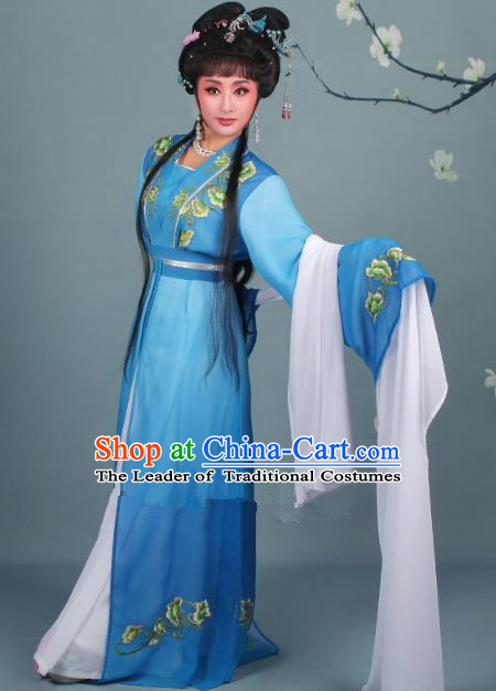 Top Grade Professional Beijing Opera Diva Costume Hua Tan Water Sleeve Embroidered Blue Dress, Traditional Ancient Chinese Peking Opera Princess Embroidery Clothing