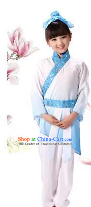 Traditional Chinese Classical Ti Tzu Kui Children Costume, China Ancient Hanfu Clothing Blue Uniform for Kids