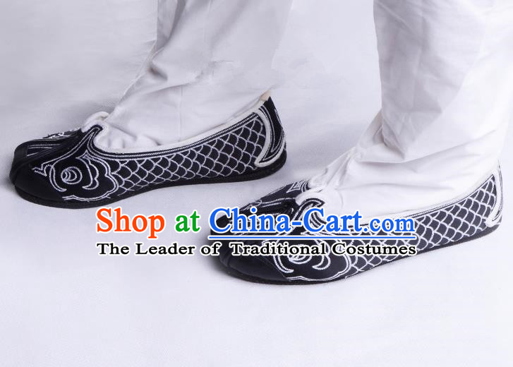 Top Grade Professional Beijing Opera Han Dynasty Fisherman Shoes, Traditional Ancient Chinese Peking Opera Cloth Shoes