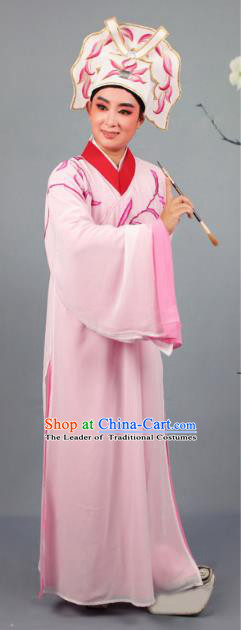China Beijing Opera Niche Costume Gifted Scholar Embroidered Pink Robe and Headwear, Traditional Ancient Chinese Peking Opera Embroidery Clothing