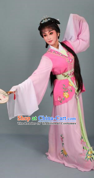 Top Grade Professional Beijing Opera Young Lady Costume Pink Embroidered Dress, Traditional Ancient Chinese Peking Opera Maidservants Embroidery Clothing