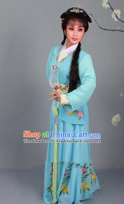 Top Grade Professional Beijing Opera Young Lady Costume Blue Embroidered Dress, Traditional Ancient Chinese Peking Opera Maidservants Embroidery Clothing