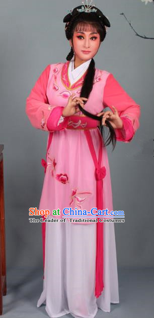 Top Grade Professional Beijing Opera Young Lady Costume Pink Hua Tan Embroidered Dress, Traditional Ancient Chinese Peking Opera Maidservants Embroidery Clothing