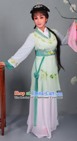Top Grade Professional Beijing Opera Young Lady Costume Light Green Hua Tan Embroidered Dress, Traditional Ancient Chinese Peking Opera Maidservants Embroidery Clothing