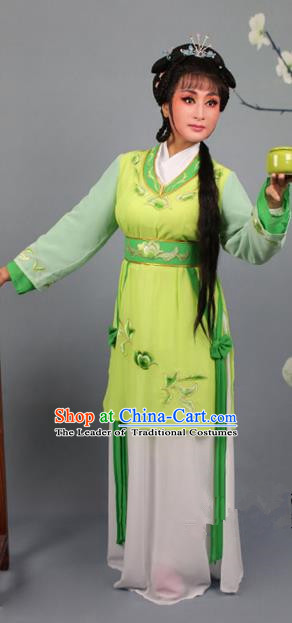 Top Grade Professional Beijing Opera Young Lady Costume Green Hua Tan Embroidered Dress, Traditional Ancient Chinese Peking Opera Maidservants Embroidery Clothing