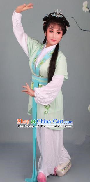 Top Grade Professional Beijing Opera Young Lady Costume Handmaiden Light Green Embroidered Suit, Traditional Ancient Chinese Peking Opera Maidservants Embroidery Clothing