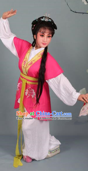 Top Grade Professional Beijing Opera Young Lady Costume Handmaiden Peach Red Embroidered Suit, Traditional Ancient Chinese Peking Opera Maidservants Embroidery Clothing