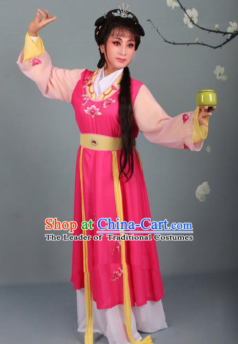 Top Grade Professional Beijing Opera Young Lady Diva Costume Handmaiden Rosy Embroidered Dress, Traditional Ancient Chinese Peking Opera Maidservants Embroidery Clothing
