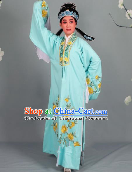 Top Grade Professional Beijing Opera Niche Costume Scholar Green Embroidered Robe and Shoes, Traditional Ancient Chinese Peking Opera Young Men Embroidery Peony Cape Clothing