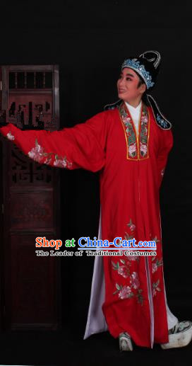 Top Grade Professional Beijing Opera Niche Costume Scholar Red Embroidered Robe and Shoes, Traditional Ancient Chinese Peking Opera Young Men Embroidery Peony Cape Clothing