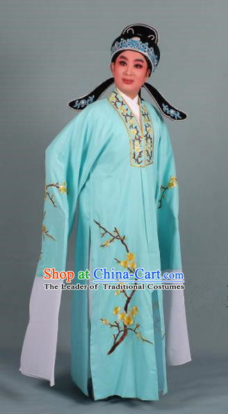 Top Grade Professional Beijing Opera Niche Costume Scholar Green Embroidered Robe and Shoes, Traditional Ancient Chinese Peking Opera Young Men Embroidery Plum Blossom Cape Clothing