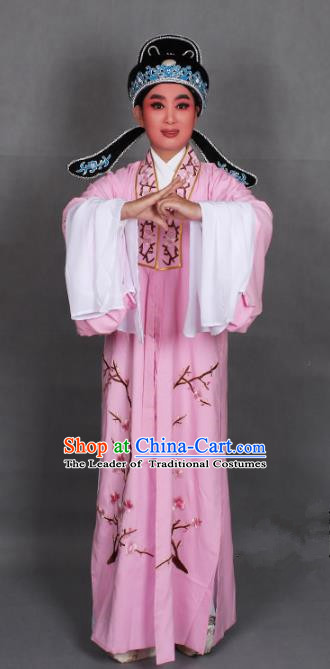 Top Grade Professional Beijing Opera Niche Costume Scholar Pink Embroidered Robe and Shoes, Traditional Ancient Chinese Peking Opera Young Men Embroidery Plum Blossom Cape Clothing