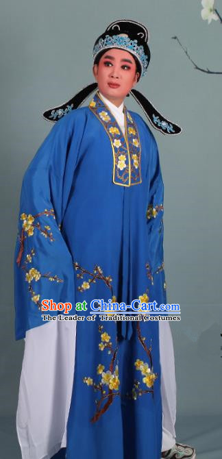 Top Grade Professional Beijing Opera Niche Costume Scholar Blue Embroidered Robe and Shoes, Traditional Ancient Chinese Peking Opera Young Men Embroidery Plum Blossom Cape Clothing