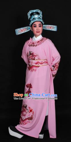 Top Grade Professional Beijing Opera Niche Costume Lang Scholar Pink Embroidered Robe and Hat, Traditional Ancient Chinese Peking Opera Young Men Embroidery Dragons Clothing