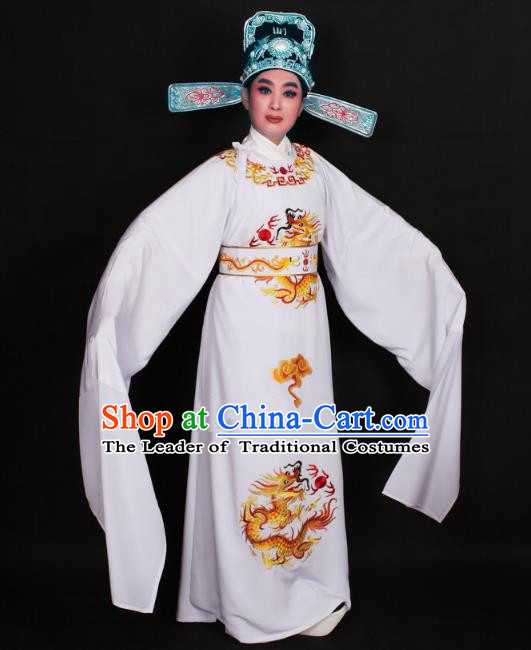 Top Grade Professional Beijing Opera Niche Costume Lang Scholar White Embroidered Robe and Hat, Traditional Ancient Chinese Peking Opera Young Men Embroidery Dragons Clothing