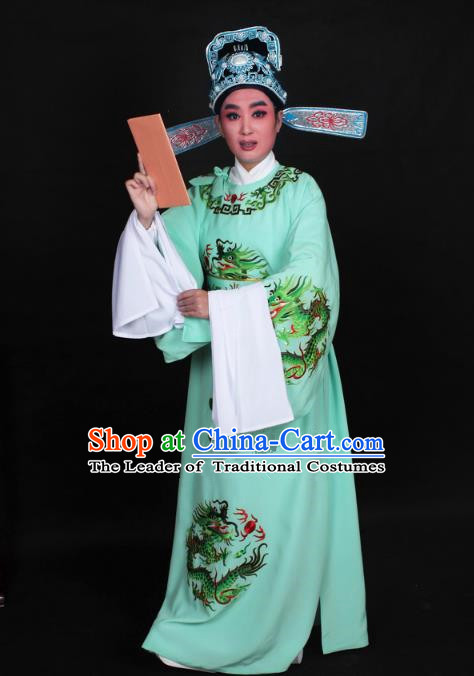 Top Grade Professional Beijing Opera Niche Costume Lang Scholar Green Embroidered Robe and Hat, Traditional Ancient Chinese Peking Opera Young Men Embroidery Dragons Clothing