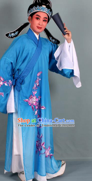 Top Grade Professional Beijing Opera Niche Costume Scholar Blue Double-deck Embroidered Robe and Hat, Traditional Ancient Chinese Peking Opera Young Men Embroidery Clothing