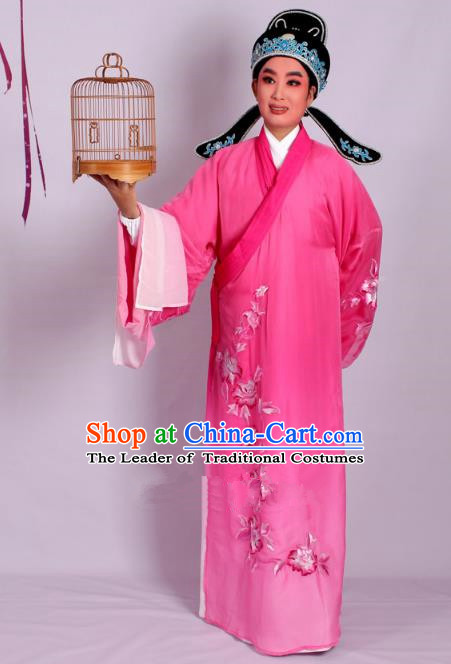 Top Grade Professional Beijing Opera Niche Costume Scholar Pink Double-deck Embroidered Robe and Hat, Traditional Ancient Chinese Peking Opera Young Men Embroidery Clothing
