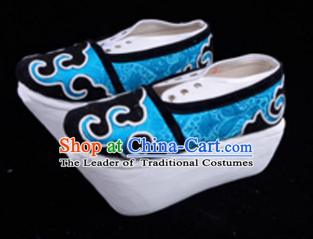Top Grade Professional Beijing Opera Niche Blue Shoes, Traditional Ancient Chinese Peking Opera Young Men Flange Shoes