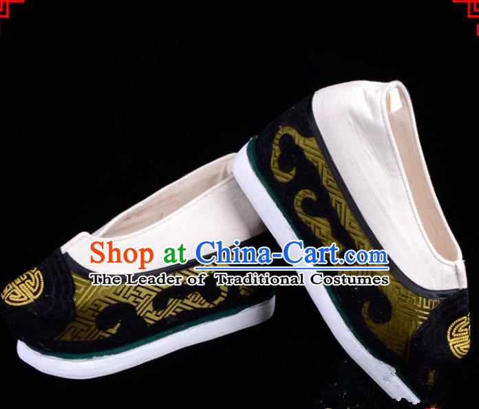 Top Grade Professional Beijing Opera Niche Shoes, Traditional Ancient Chinese Peking Opera Young Men Cloth Shoes