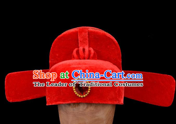 Top Grade Professional Beijing Opera Niche Costume Official Red Hat Headwear, Traditional Ancient Chinese Peking Opera Young Men Headpiece Black Gauze Cap