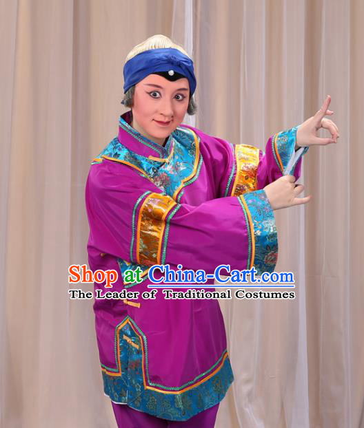 Top Grade Professional Beijing Opera Old Women Costume Pantaloon Embroidered Purple Clothing, Traditional Ancient Chinese Peking Opera Matchmakers Embroidery Clothing