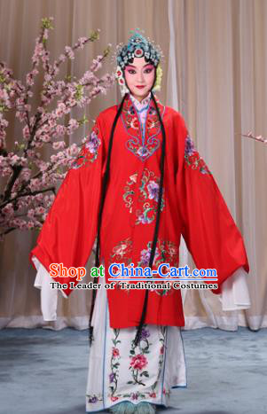 Top Grade Professional Beijing Opera Palace Lady Costume Hua Tan Red Embroidered Cape, Traditional Ancient Chinese Peking Opera Diva Embroidery Clothing