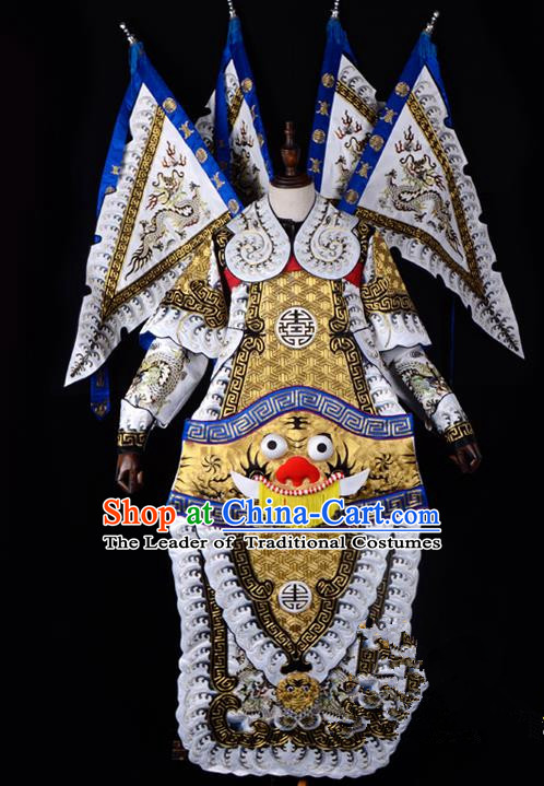Traditional China Beijing Opera Takefu General Costume and Headwear Complete Set, Ancient Chinese Peking Opera Wu-Sheng Military Officer Clothing
