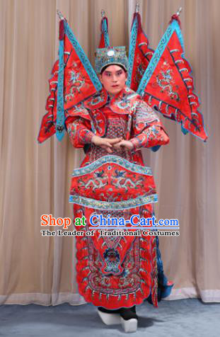 Traditional China Beijing Opera Takefu General Red Costume and Headwear Complete Set, Ancient Chinese Peking Opera Wu-Sheng Military Officer Clothing