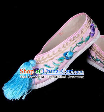 Top Grade Professional Beijing Opera Hua Tan Embroidered Pink Cloth Shoes, Traditional Ancient Chinese Peking Opera Diva Princess Blood Stained Shoes
