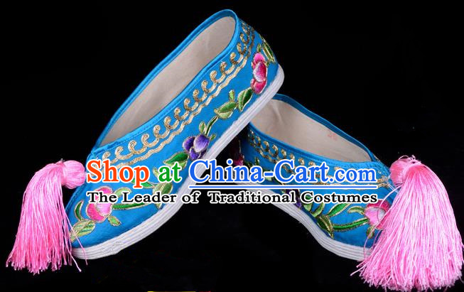 Top Grade Professional Beijing Opera Hua Tan Embroidered Blue Cloth Shoes, Traditional Ancient Chinese Peking Opera Diva Princess Blood Stained Shoes