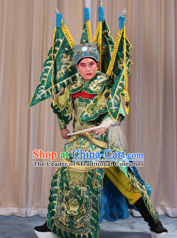 Traditional China Beijing Opera Takefu General Green Costume and Headwear Complete Set, Ancient Chinese Peking Opera Wu-Sheng Military Officer Clothing
